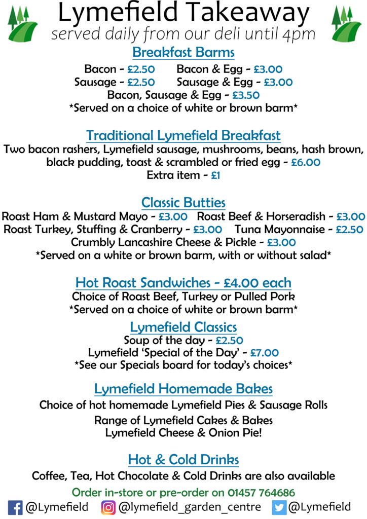 list of takeaway items including traditional lymefield breakfast, ckes & drinks.